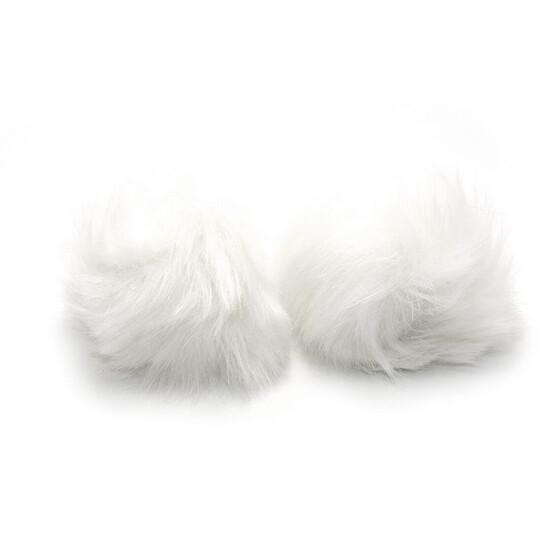Vintageparts DIY Anhänger als Bommel aus echtem Fell in weiß 2 Stück