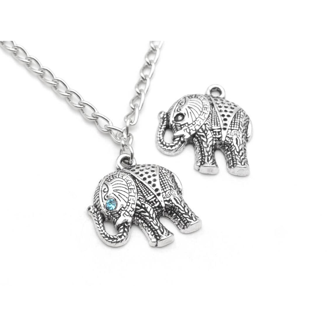Kette Elefant Anhänger XXL Antik Silber Halskette Elefanten