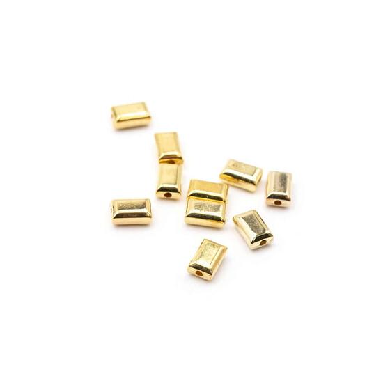Vintageparts DIY Perlen als Rechteck in goldfarben 6x2,5 mm 50 Stück