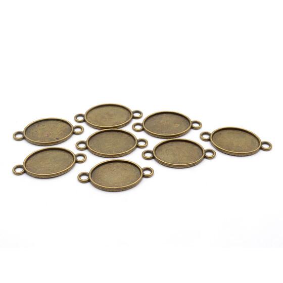 Fassungen für 10 mm Cabochons in antik bronzefarben 10 Stück von Vintageparts
