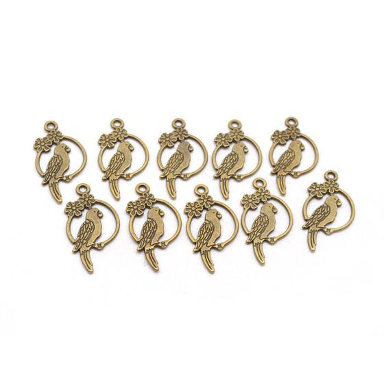 10 stilisierte Anhänger Blatt in antik Bronze