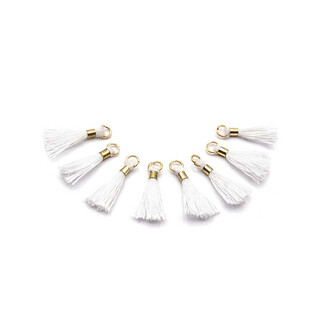 pastellfarbene Quasten mit goldenem Biegering 4 Stück von Vintageparts DIY