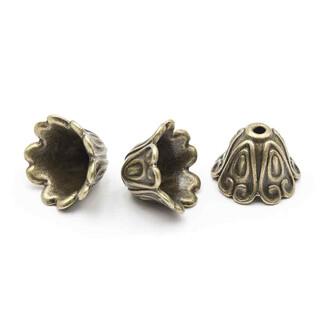 10 Perlkappen Perlen Halbschale Blüte 5mm 925 Silber Schmuck basteln DIY-Schmuck