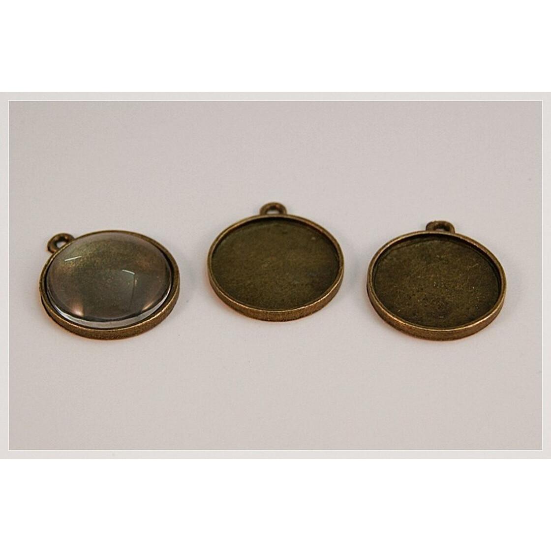4 Fassungen rund für 25 mm Cabochons Gold Medaillons Anhänger M576
