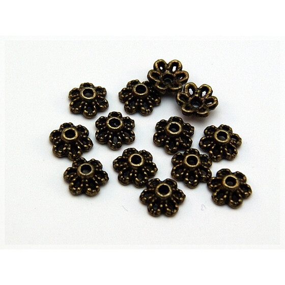 30 Perlkappen in vintage Bronze, 6 mm