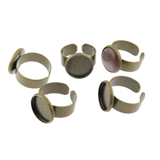 4 Ringrohlinge in antik Bronze für 14 mm Cabochon