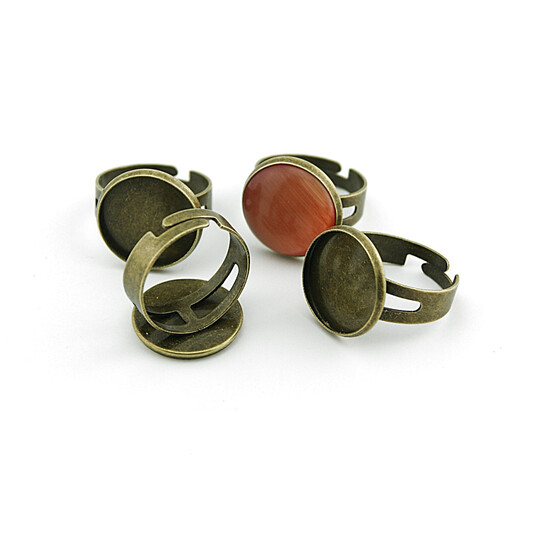 2 Ringrohlinge in antik Bronze für 16 mm Cabochon