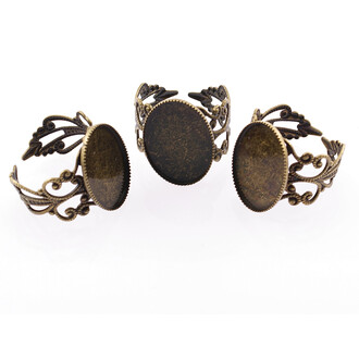 2 Ringrohlinge in antik Bronze für 18 x 13 mm Cabochons