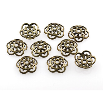 10 verzierte Perlkappen in antik Bronze, 12 mm