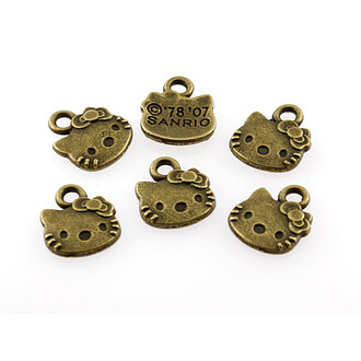 12 kleine Hello Kitty  Anhänger in vintage Bronze