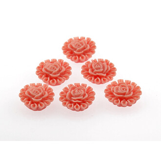 6 Cabochons Blume in lachs, 13 mm