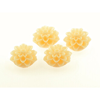 4 Cabochons Blume in hellen apricot, 15 mm