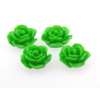 4 Cabochons Rose in grün, 18 mm
