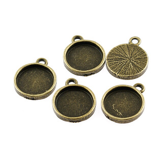 6 stabile Fassungen für 12 mm Cabochons in antik bronze