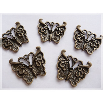 6 Schmetterlinge in vintage Bronze