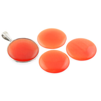2 Cabochons 25 mm Cateye Glas in orange-rot