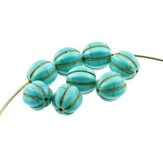 10 Halbedelsteine aus Türkis 12 mm