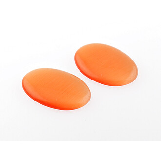 2 Cabochons 25*18 mm Cateyeglas in orange