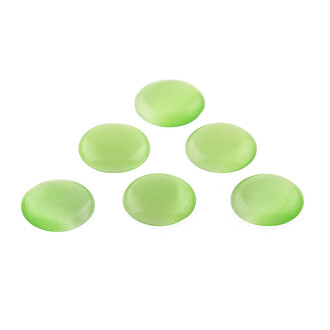 6 Cabochons aus Cateyeglas in olive, 14 mm