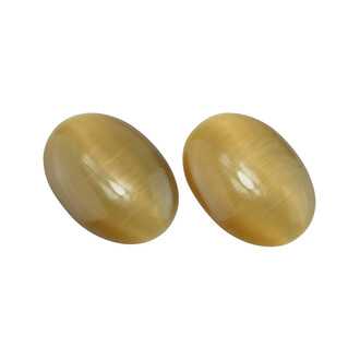 2 Cabochons 25*18 mm Cateyeglas in sand