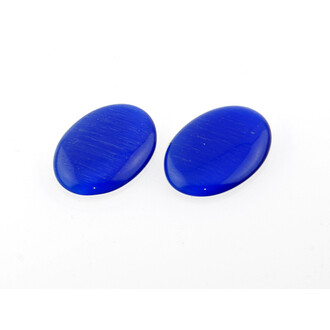 2 Cabochons 25*18 mm Cateyeglas in blau