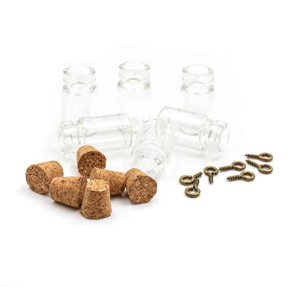 6 kleine bef llbare glasflaschen mit korken und se. Black Bedroom Furniture Sets. Home Design Ideas
