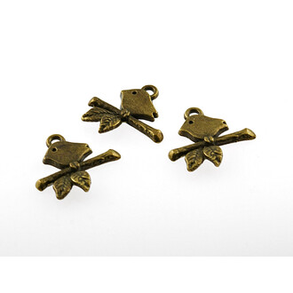 dreidimensionale Vogelkäfige aus Metall in vintage Bronze von Vintageparts 4 Stk