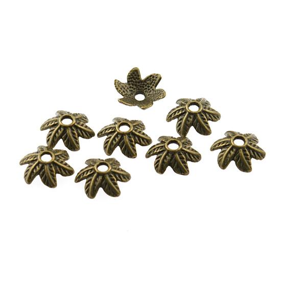 10 mm 30 hohe Perlkappen in antik Bronze