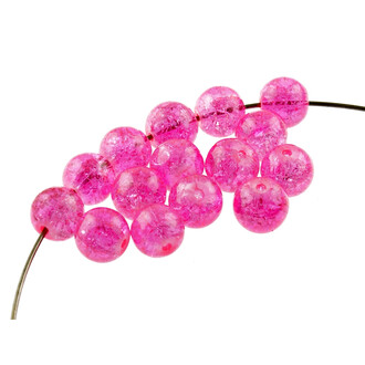 20 Crackle Glasperlen in pink, 10 mm