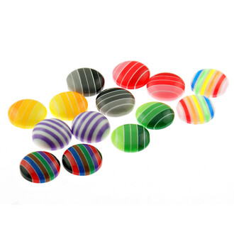 12 Resincabochons in bunt gestreift, 12 mm