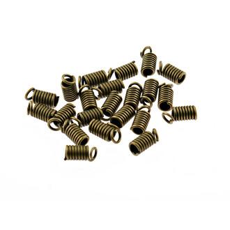 2 mm 40 Spulenden für Bänder in antik Bronze