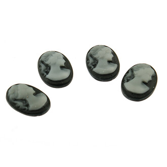 4 Cabochon/Kamee in grau, 18 x 13 mm