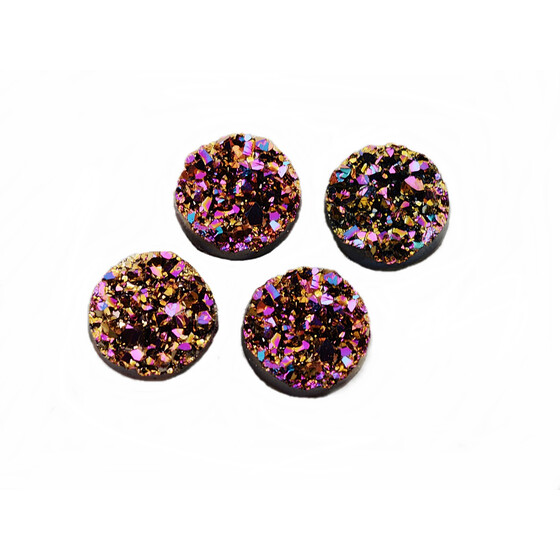 4 Cabochons Eiskristalle in rosa-gold, 12 mm