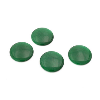 4 Cabochons Cateye Glas in waldgrün, 20 mm
