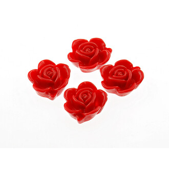 6 Cabochons Rose in rot, 15 mm