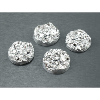 4 Cabochons Eiskristalle in silber, 12 mm
