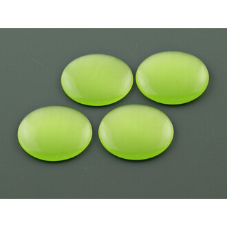 4 Cabochons Cateye Glas in kiwigrün, 20 mm
