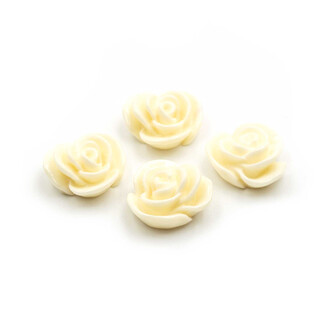 4 Cabochons als Rose in creme, 15 mm