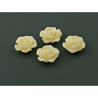 6 Cabochons als Rose in creme, 14 mm