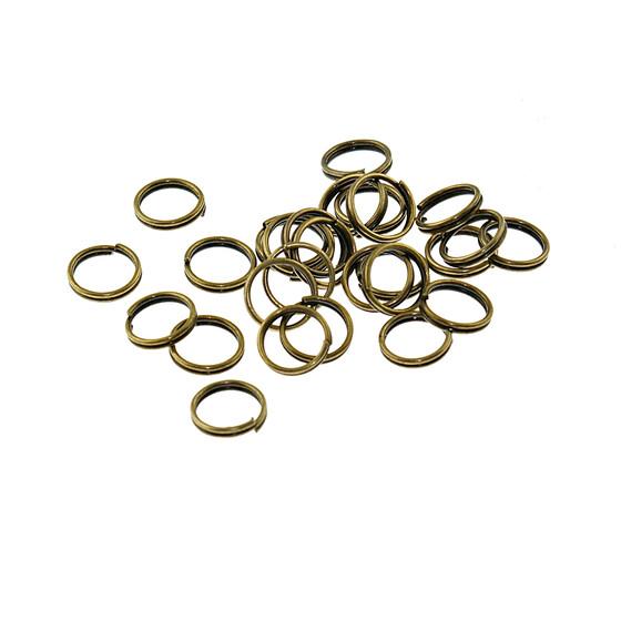 7 mm 50 doppelte Splitringe in vintage Bronze