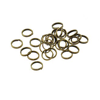 50 doppelte Splitringe in vintage Bronze, 8 mm