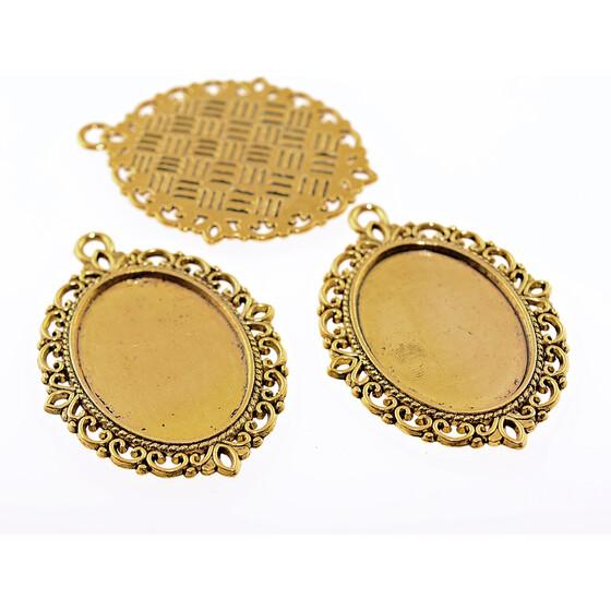 4 tropfenförmige Fassungen als Verbinder in goldfarben für 18 x 13mm Cabochons