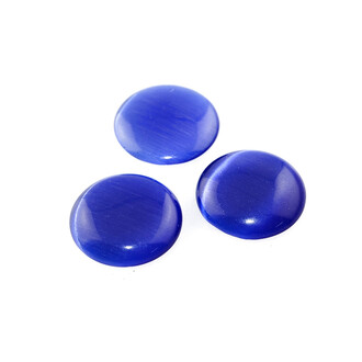 2 Cabochons Cateye Glas in royalblau, 25 mm