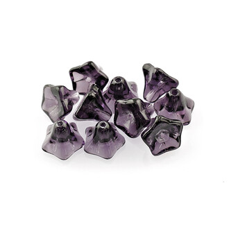10 Glasblumen in violett, 9 mm