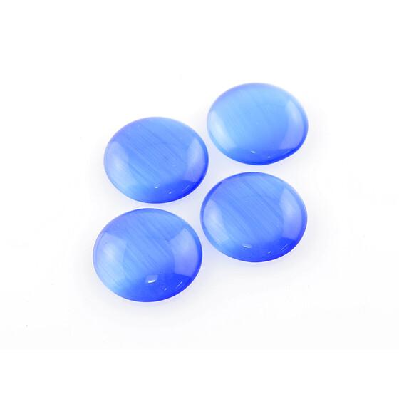 20 mm 4 Cabochons Cateye Glas in dunkelblau