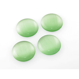 4 Cabochons Cateye Glas in grasgrün, 20 mm