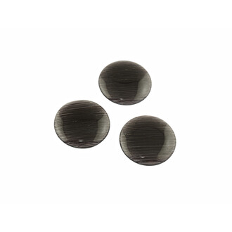 4 Cabochons Cateye Glas in anthrazit, 20 mm