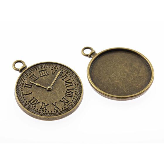 2 Fassungen für in antik Bronze für 30 mm Cabochons