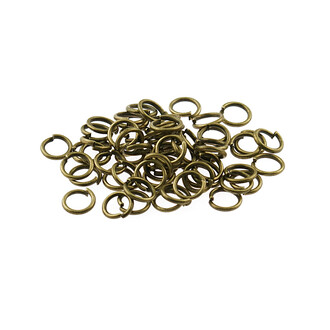 100 Biegeringe in antik Bronze, 6 mm