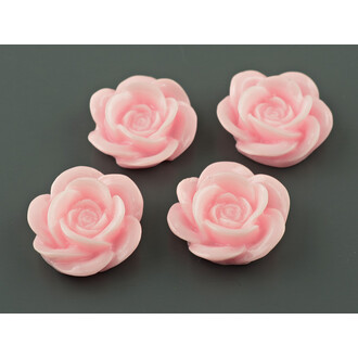 4 Cabochons als Rosen in rosa, 18 mm